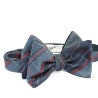 Blue and brown checked Bow-Tie Inzhener Garin