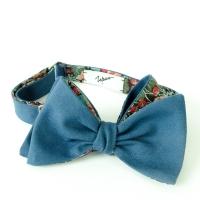 Blue Cotton Bow-Tie with bold floral lining Inzhener Garin