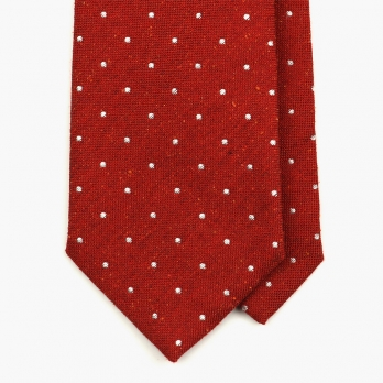 Красный галстук в горошек MEROLA из шёлка-шантунга