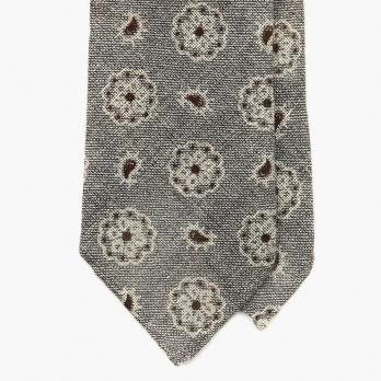 """Серый галстук """"фуляр и пейсли"""" MEROLA из льна и шёлка"""
