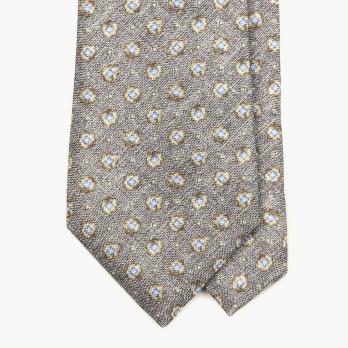 Серый шёлковый галстук MEROLA с цветочным рисунком