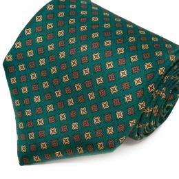 Зеленый галстук из гладкого шелка с мелким рисунком SERA FINE SILK