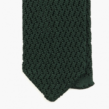 Темно-зеленый вязаный галстук из шелка SERA FINE SILK