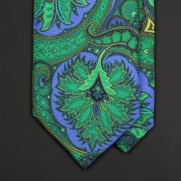 Галстук с крупным фантазийным орнаментом в синих и зеленых тонах ASCOT