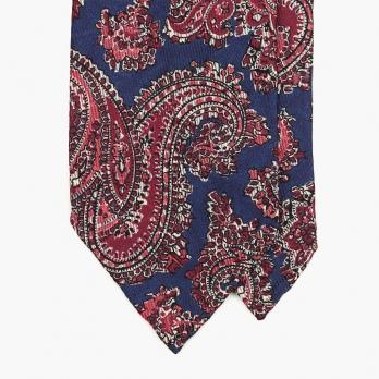 Малиново-синий галстук с крупным узором пейсли  STEFANO CAU