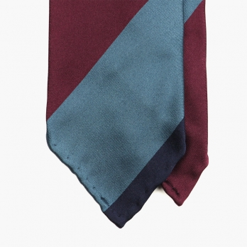 Полосатый шелковый галстук в синих и бордовых тонах STEFANO CAU