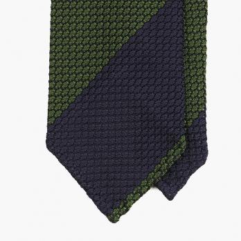 Сине-зеленый галстук в крупную полоску из шёлка-гренадина STEFANO CAU