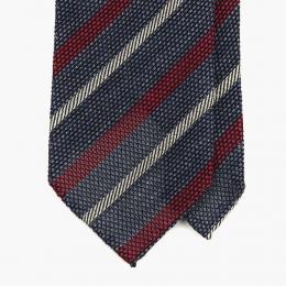 Синий в красно-белую полоску гренадиновый галстук  STEFANO CAU