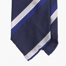 Синий с белым полосатый галстук  STEFANO CAU