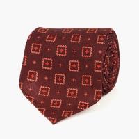 Бордовый галстук из гладкой шерсти VARSUTIE с узором фуляр