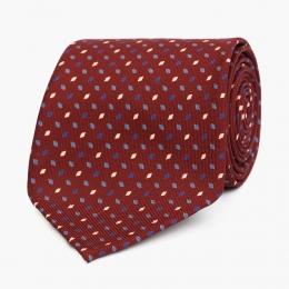 Бордовый шёлковый галстук с мелким  ромбовидным узором VARSUTIE