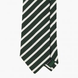 """Зеленый галстук в полоску из шёлка """"шантунг"""" VARSUTIE"""