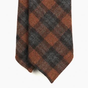 Коричневый шерстяной галстук в клетку UMBERTO FORNARI