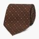 Коричневый шёлковый галстук с мелким цветочным узором VARSUTIE