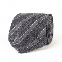 Серый галстук в полоску из шелка-гренадина и шерсти VARSUTIE