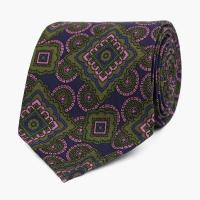 Сине-зеленый шелковый галстук с крупным орнаментом VARSUTIE