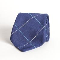 Синий галстук в клетку из шелка шантунг (Shantung) VARSUTIE
