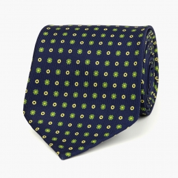 Темно-синий шёлковый галстук с цветочным узором VARSUTIE