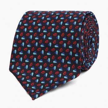 Темно-синий шёлковый галстук с мелким растительным орнаментом VARSUTIE