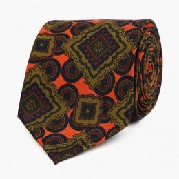 Шелковый галстук с крупным орнаментом в зелено-коричневых тонах VARSUTIE