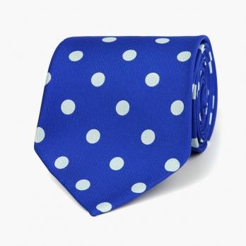Синий шёлковый галстук в горошек VARSUTIE