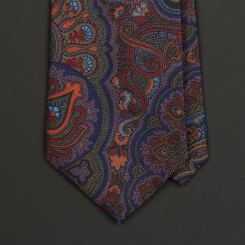 Синий шёлковый галстук MICHELSONS с узором пейсли