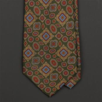 Винтажный зеленый шёлковый галстук BURBERRYS с узором медальон