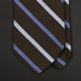 Коричневый полосатый галстук BROOKS BROTHERS