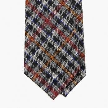 Многоцветный галстук в клетку FOUR-IN-HAND из шерсти, льна и хлопка