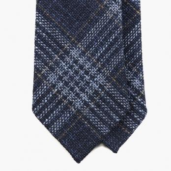 Синий галстук в клетку FOUR-IN-HAND из шелка, льна и хлопка