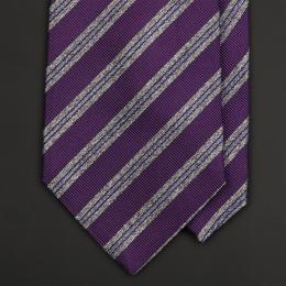 Cиреневый галстук в серую полоску FUENTECAPALA из шелка и хлопка