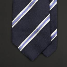 Темно-синий в полоску шелковый галстук ASCOT
