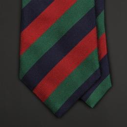 Шелковый галстук FUMAGALLI 1891 в зеленую, синюю и красную полоску