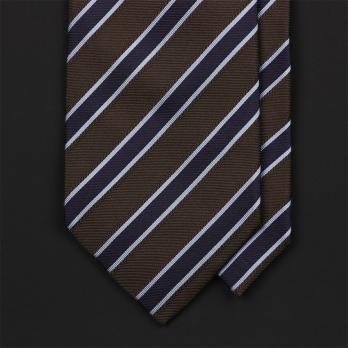 Коричневый в синюю полоску галстук ULTURALE