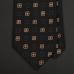 Черно-коричневый шелковый галстук ERMENEGILDO ZEGNA с рисунком фуляр