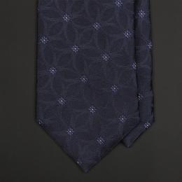 Темно-синий галстук PROFUOMO с жаккардовым цветочным орнаментом
