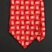 Шелковый галстук LANVIN в красно-белых тонах с плетеным рисунком