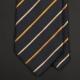 Черный шелковый галстук LANVIN с золотисто-ванильными полосками