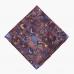Шелковый платок в сиренево-синих тонах с анималистическим и растительным рисунком OLYMP