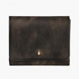 Серо-коричневый кошелёк на кнопке IKKY