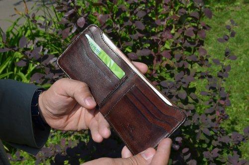 Мужской кошелек из натуральной кожи/Как отличить хорошую кожу - бамажник Four-in-Hand
